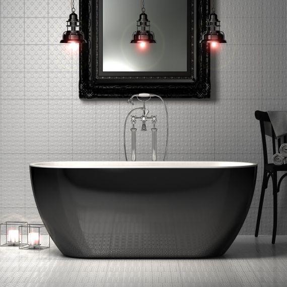 Charlotte Edwards Belgravia Gloss Black 1690x730 Freestanding Bath Tub CE11034