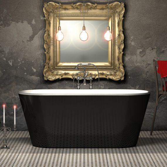 Charlotte Edwards Grosvenor 1650mm Gloss Black Freestanding Bath Tub CE11015-GB