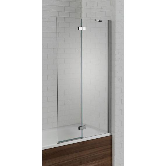 Aquadart Venturi 6mm Left Hand Polished Silver Hinged Bath Screen 1500 x 900 AQ6003L