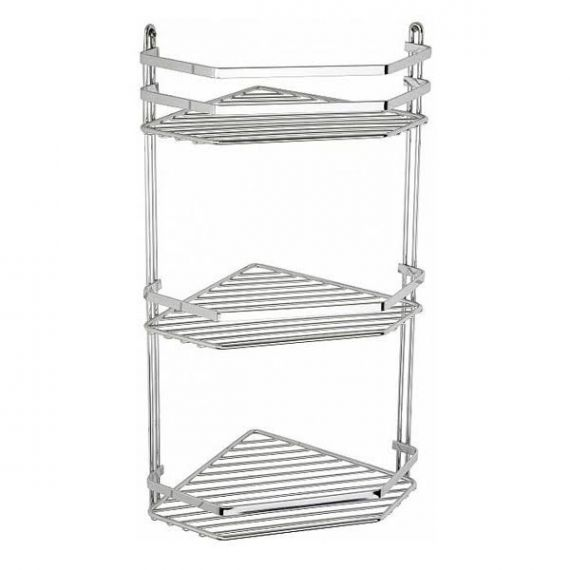 Satina Bathroom  57690 Corner Basket Tidy Triple Tier Chrome