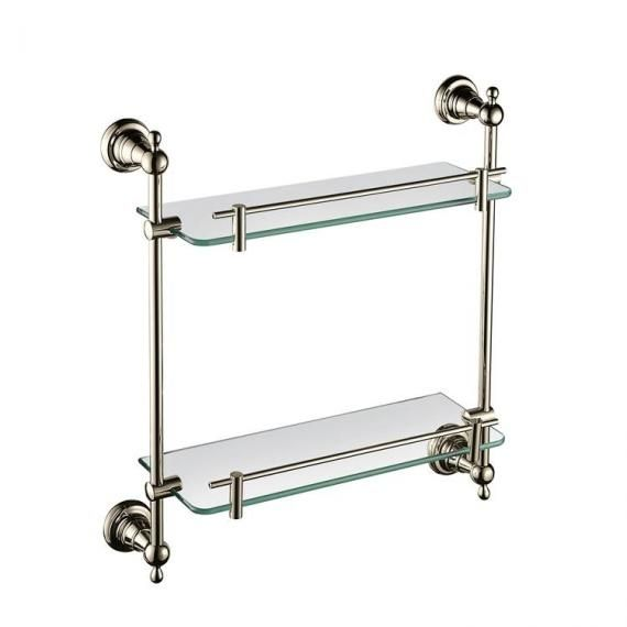 Heritage Holborn 410mm Double Glass Shelf with Vintage Gold Brackets