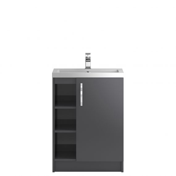 Hudson Reed Apollo Grey Gloss Floor Standing 600mm Cabinet & Basin