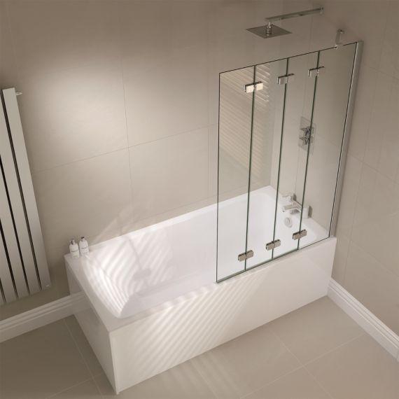 April Frameless 4 Fold Shower Bath Screen Right Hand AP9501R