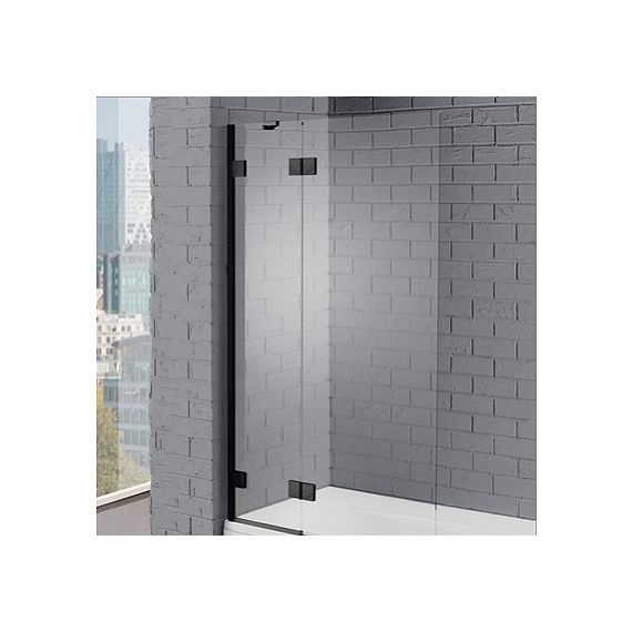 Aquadart Venturi 8mm Matt Black Hinged Bath Screen 1500 x 1000 AQ6002BLK
