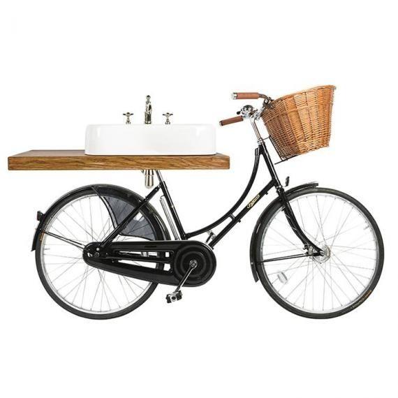 Arcade Bicycle Washstand With Basin and Oak Shelf Option