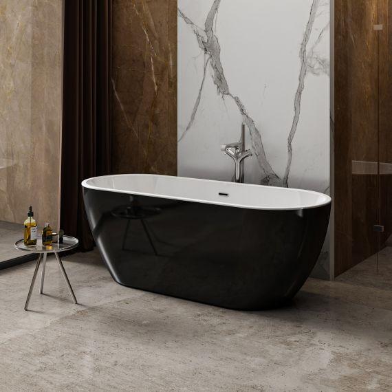 Charlotte Edwards Belgravia Gloss Black 1500x730 Freestanding Bath Tub CE11040