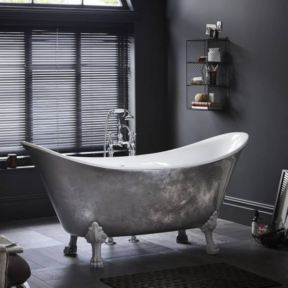 Heritage Lyddington Freestanding Acrylic Bath 1730 x 750mm with Feet Stainless Steel Effect