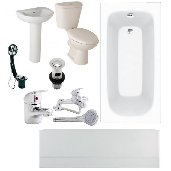 Budget Bathroom Suite 1600mm Bath COMPLETE