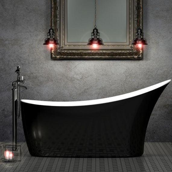 Charlotte Edwards Swanley Black 1720mm Freestanding Bath CE11037