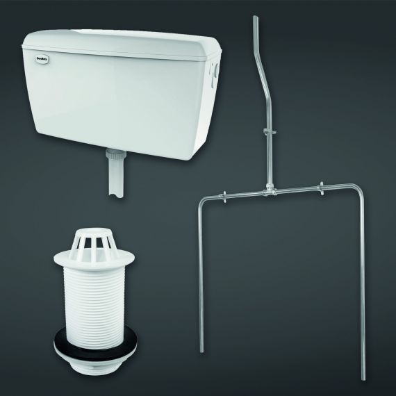 Concealed Urinal Auto Cistern 9.0l Capacity complete with Sparge Pipe Sets, Back Inlet Spreader and Urinal Waste  suitable for 2 Urinals