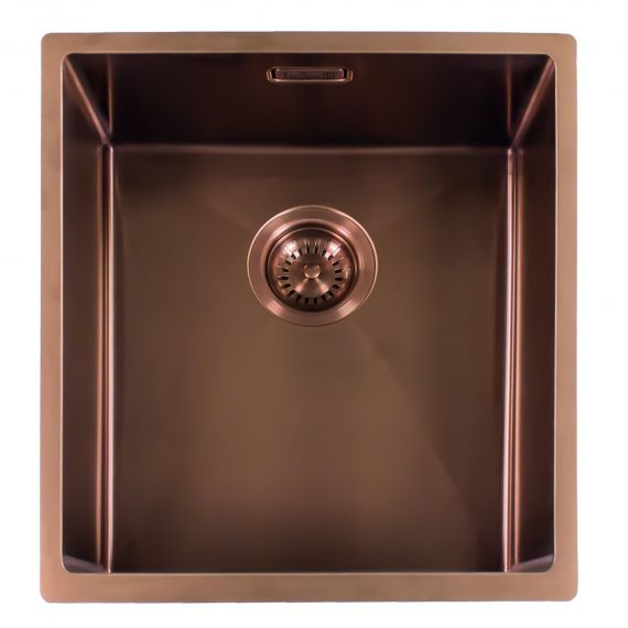 Reginox Miami Single Bowl Integrated/Undermount Stainless Steel Kitchen Sink Copper 440 x 440mm