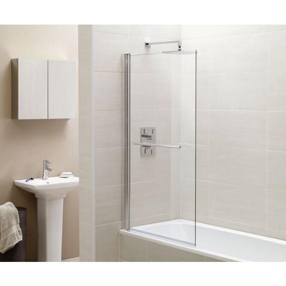 Frontline Identiti² 6mm Square Single Bath Screen with Towel Rail