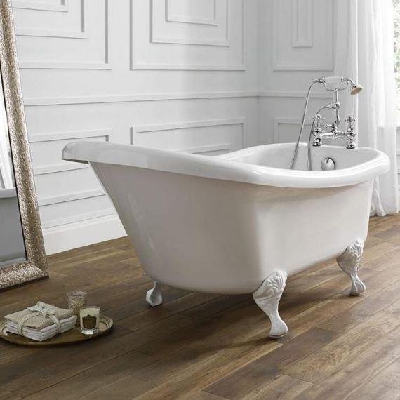 April Eldwick 1500 x 750 Slipper Bath With Traditional Ball And Claw White Bath Feet