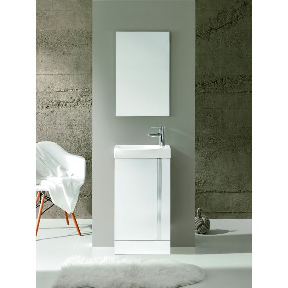 Frontline Elegance Floorstanding Vanity Unit And Mirror - Gloss White