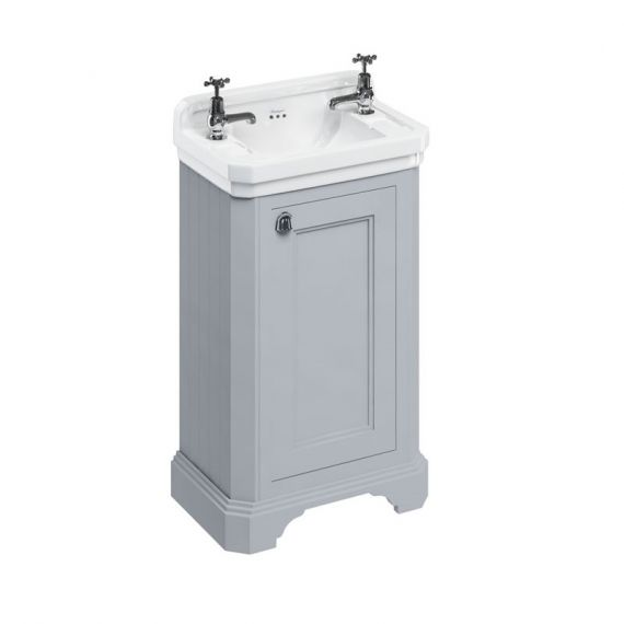 Burlington Cloakroom Vanity Unit One Door Grey with 2 tap hole Basin