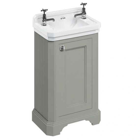 Burlington Cloakroom Vanity Unit One Door Olive with 2 tap hole Basin