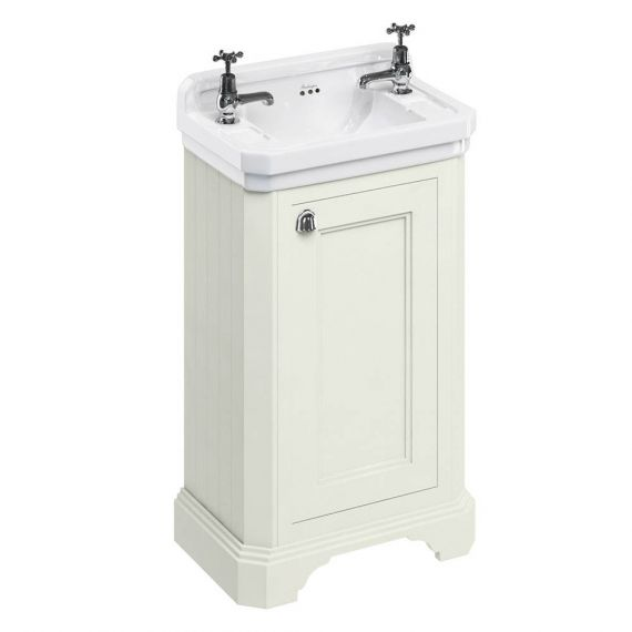 Burlington Cloakroom Vanity Unit One Door Sand with 2 tap hole Basin