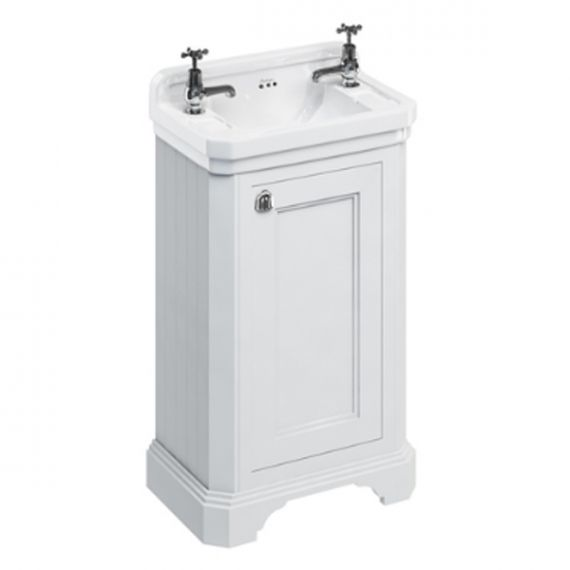 Burlington Cloakroom Vanity Unit One Door White with 2 tap hole Basin