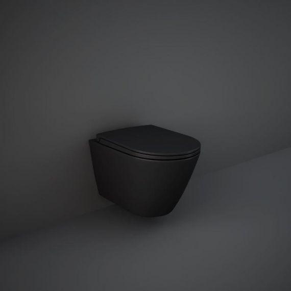 RAK-Feeling  Rimless Wall Hung Pan and soft close seat in Matt Black FEEWHPAN504-SC