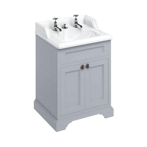 Burlington 65cm Vanity Unit Double Door Grey with 2 tap hole Basin
