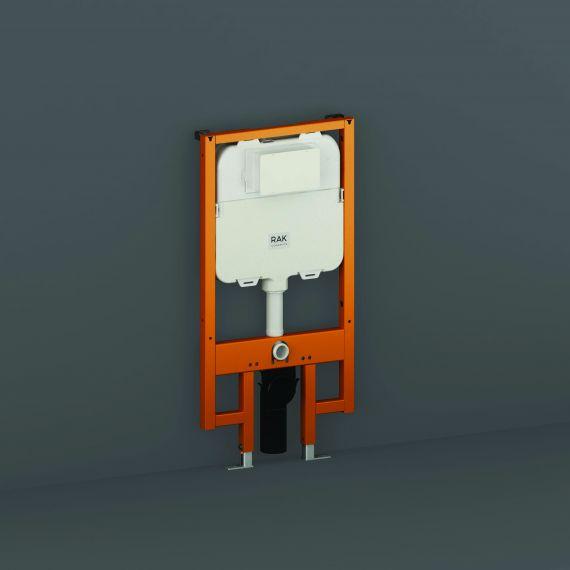 RAK-Ecofix 8cm Slimline Front Flush Regular Concealed Cistern and Frame for Wall Hung Pan - Frame Height 114cm