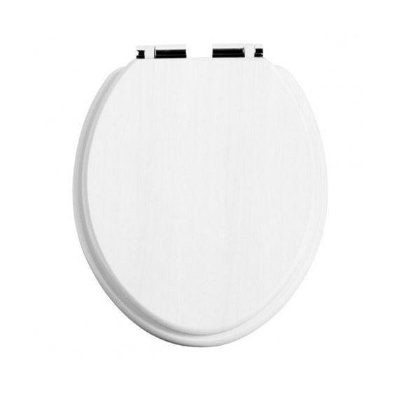 Heritage White Ash Chrome Soft Close Toilet seat