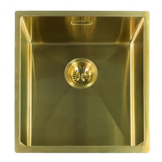 Reginox Miami Single Bowl Integrated/Undermount Stainless Steel Kitchen Sink Gold 440 x 440mm