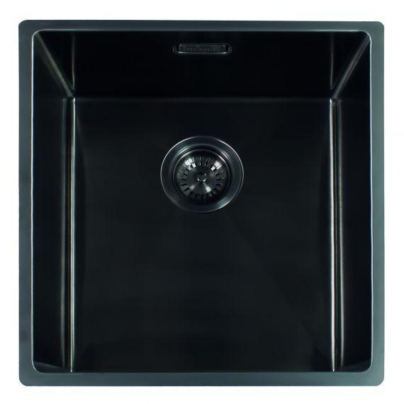 Reginox Miami Single Bowl Integrated/Undermount Stainless Steel Kitchen Sink Gun Metal 440 x 440mm