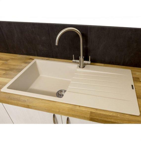 Reginox Harlem10 1 Bowl Kitchen Sink Drainer Cafe Latte Granite