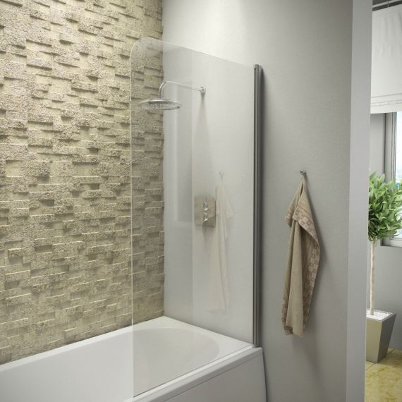 1400 Hinged Curved Bath Screen Single Panel
