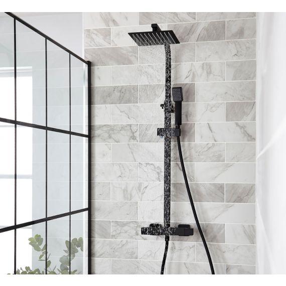 Matt Black Square Thermostatic Rigid Riser Shower with Diverter