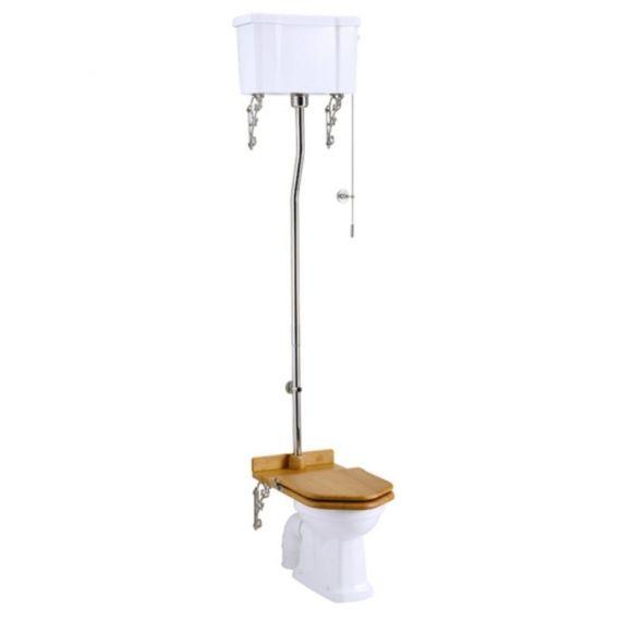 Burlington High Level Toilet Pan, Cistern with Chrome High Level Flush Kit