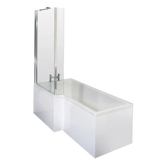 Nuie 1700mm Left Hand Square Shower Bath Set