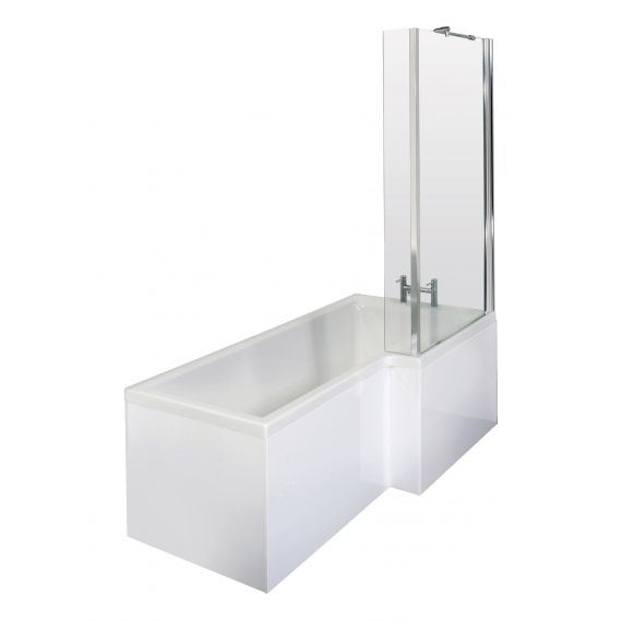 Nuie 1700mm Right Hand Square Shower Bath Set