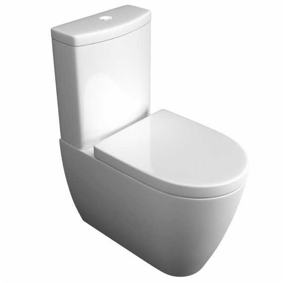 Genoa Close Coupled Full Back To Wall Toilet & Soft Close Seat