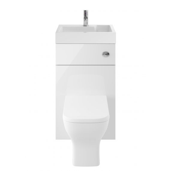 Nuie Athena 2 In 1 Gloss White 500mm Basin & WC Unit Exluding BTW WC Pan