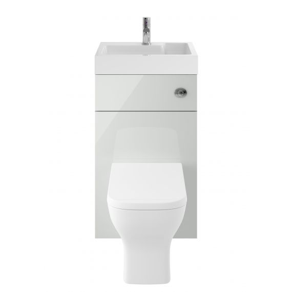 Nuie Athena 2 In 1 Gloss Grey Mist Toilet and Basin Unit Including Bliss BTW WC Pan