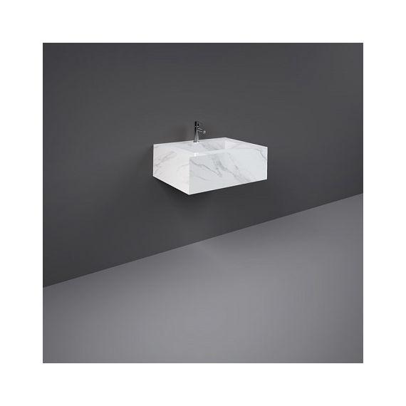 RAK-Precious 600mm Wall Mounted Counter Wash Basin with 0th in Carrara
