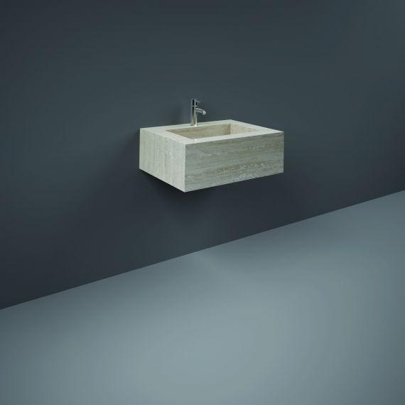 RAK-Precious 600mm Wall Mounted Counter Wash Basin with 1th in Travertino Ivory