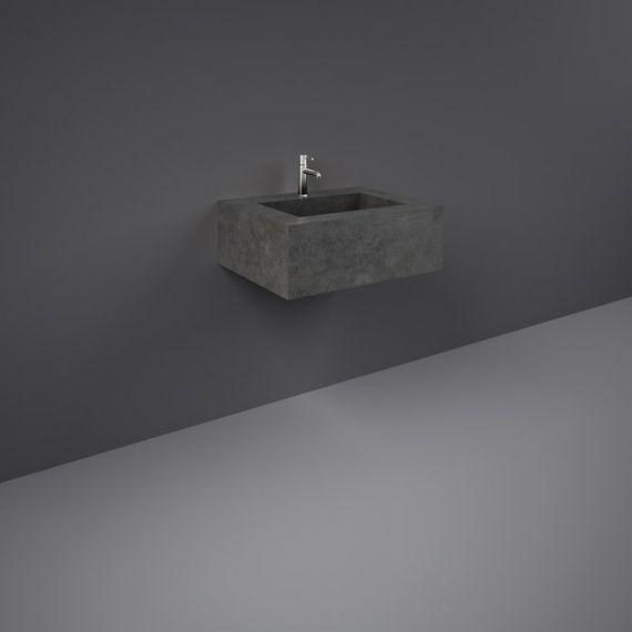 RAK-Precious 600mm Wall Mounted Counter Wash Basin with 0th in Behind Grey