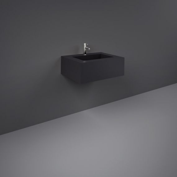 RAK-Precious 600mm Wall Mounted Counter Wash Basin with 1th in Uni Dark Black