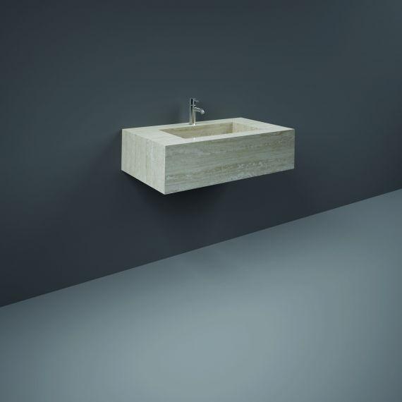 RAK-Precious 800mm Wall Mounted Counter Wash Basin with 1th in Travertino Ivory