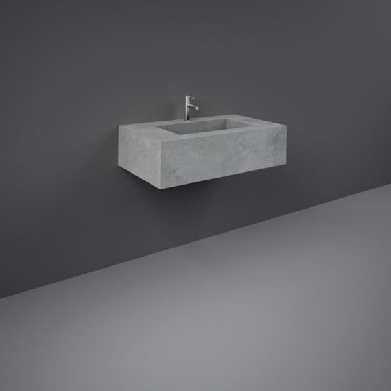 RAK-Precious 800mm Wall Mounted Counter Wash Basin with 0th in Surface  XL Cool Grey