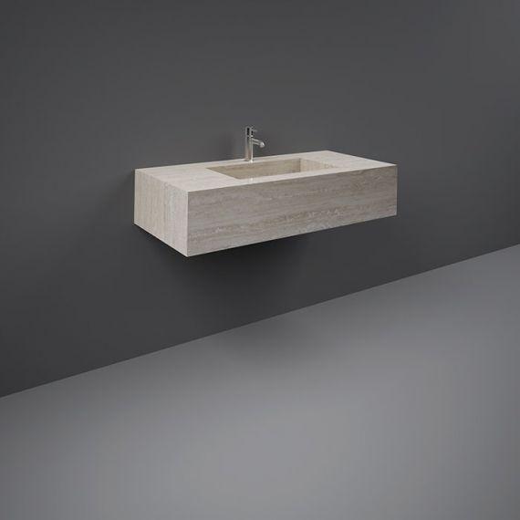 RAK-Precious 1000mm Wall Mounted Counter Wash Basin with 0th in Travertino Ivory