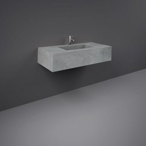 RAK-Precious 1000mm Wall Mounted Counter Wash Basin with 1th in Surface  XL Cool Grey