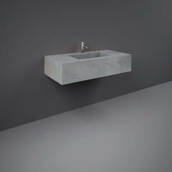 RAK-Precious 1000mm Wall Mounted Counter Wash Basin with 0th in Surface  XL Cool Grey