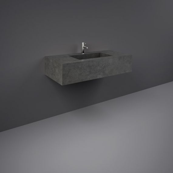 RAK-Precious 1000mm Wall Mounted Counter Wash Basin with 1th in Behind Grey