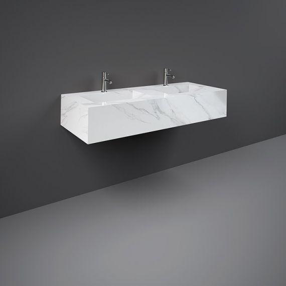 RAK-Precious 1200mm Wall Mounted Counter Wash Basin with 0th in Carrara