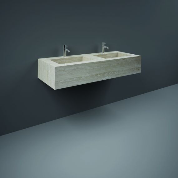 RAK-Precious 1200mm Wall Mounted Counter Wash Basin with 1th in Travertino Ivory