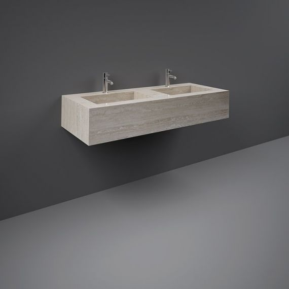 RAK-Precious 1200mm Wall Mounted Counter Wash Basin with 0th in Travertino Ivory